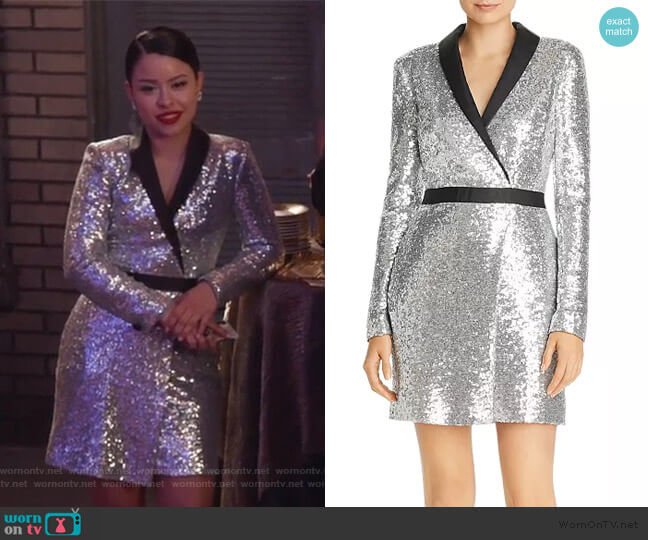 Meryl Sequin Faux Wrap Dress by Rachel Zoe worn by Mariana Foster (Cierra Ramirez) on Good Trouble