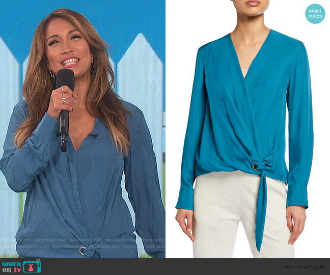 Felix Tie-Front Popover Blouse by Rag & Bone worn by Carrie Inaba  on The Talk