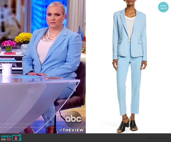 Lucy Linen Blend Blazer and Poppy tab pants by Rag and Bone worn by Meghan McCain  on The View