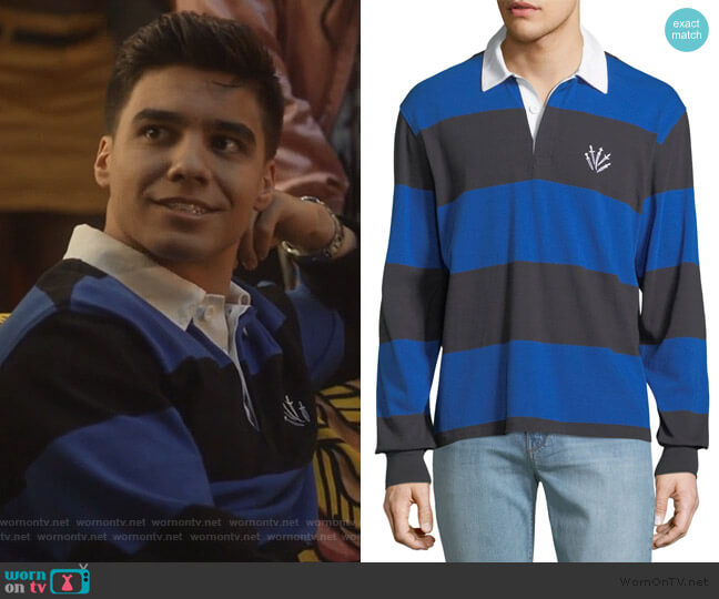 Rugby Polo Shirt with Dagger Embroidery by Rag & Bone worn by Vivek Shah (Jordan Buhat) on Grown-ish