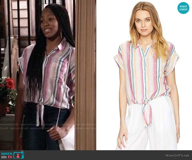 Rails Amelie Shirt in Avila Stripe worn by Trina (Sydney Mikayla) on General Hospital