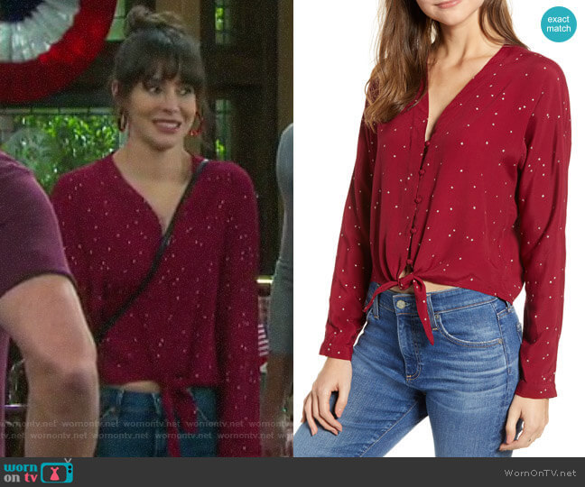 Rails Sloane Top in Red  worn by Sarah Horton (Linsey Godfrey) on Days of our Lives