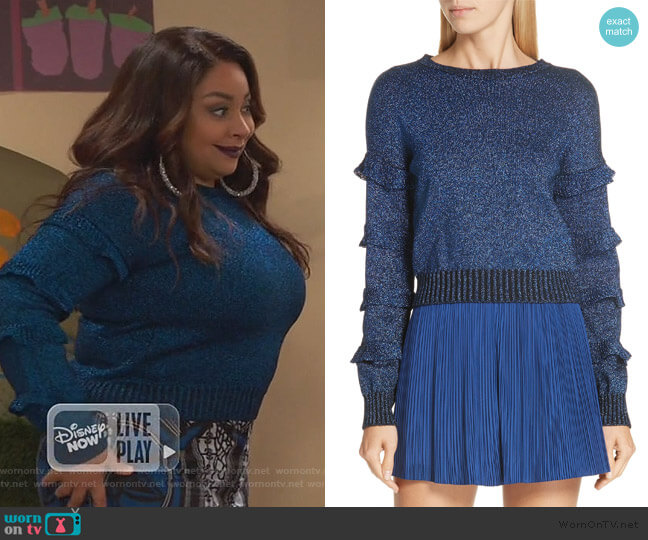 Ruffle Sleeve Metallic Wool Blend Sweater by RED Valentino worn by Raven Baxter (Raven-Symoné) on Ravens Home