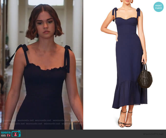 Nikita Midi Dress by Reformation worn by Callie Foster (Maia Mitchell) on Good Trouble
