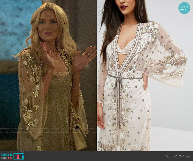 River Island Embellished Maxi Kimono worn by Stephanie Pratt  on The Hills New Beginnings