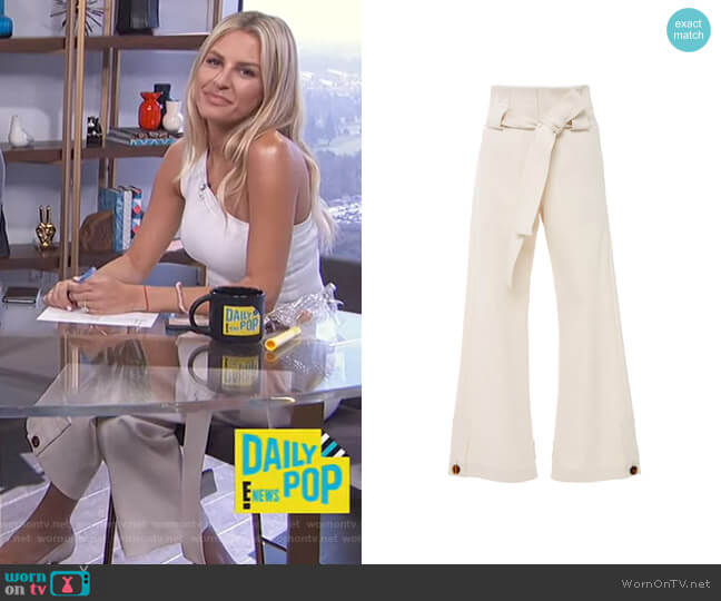 Belted High-Waist Stretch-Cotton Cropped Pants by by Rosetta Getty worn by Morgan Stewart  on E! News