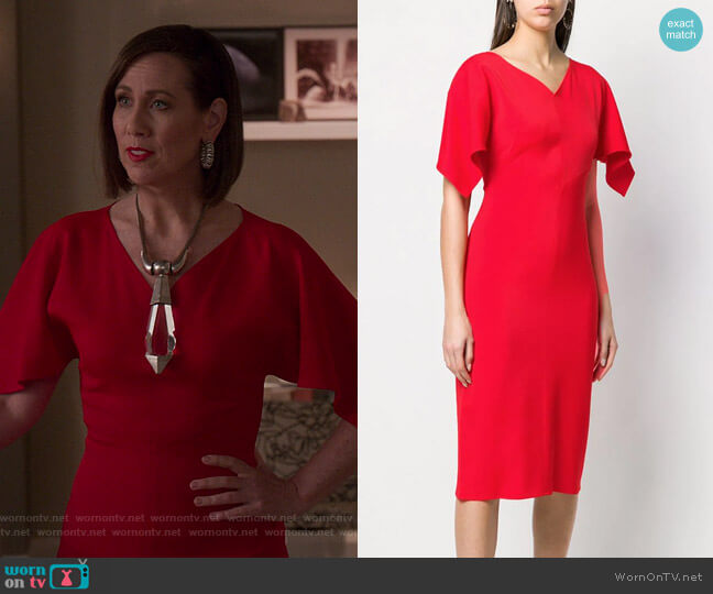 Drape Sleeve Fitted Dress by Sies Marjan worn by Diana Trout (Miriam Shor) on Younger