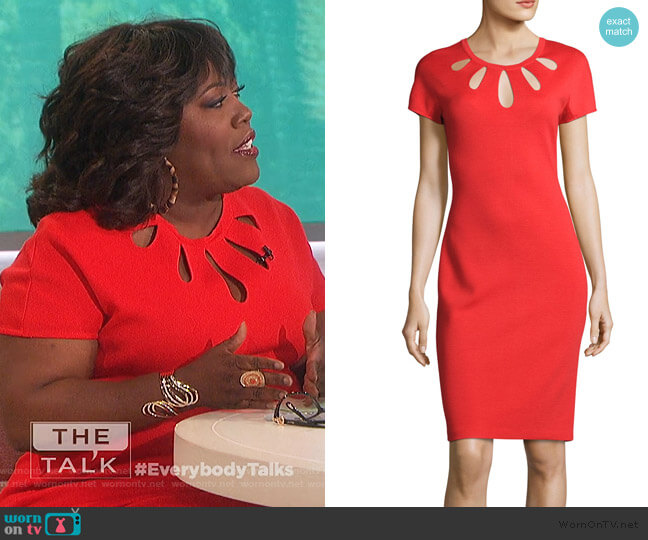 Teardrop Jewel Neck Scuba Crepe Dress by Maggy London worn by Sheryl Underwood  on The Talk