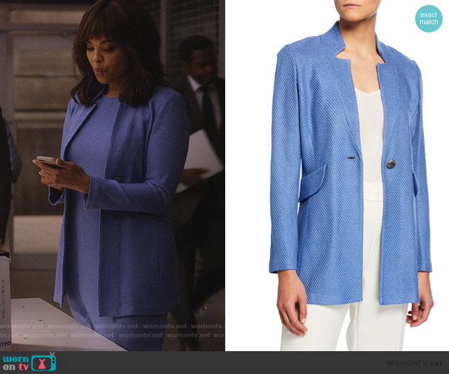 Sarga Knit Twill Jacket by St. John worn by Jasmine Gooden (Sharon Leal) on Instinct