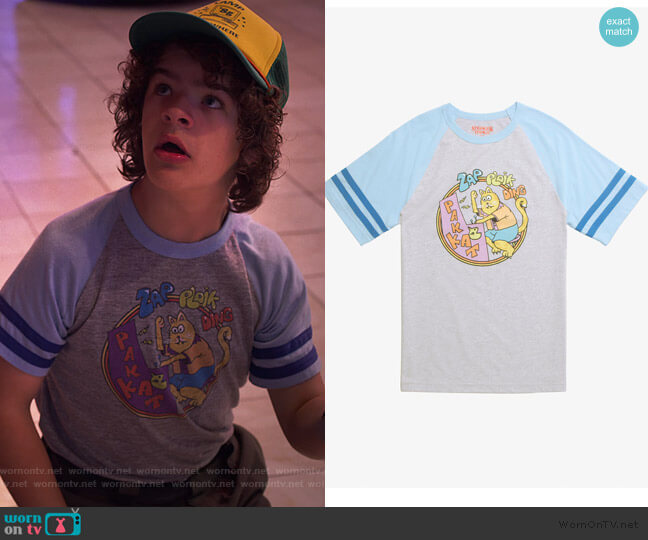 Pak Kat Raglan by Hot Topic worn by Dustin (Gaten Matarazzo) on Stranger Things