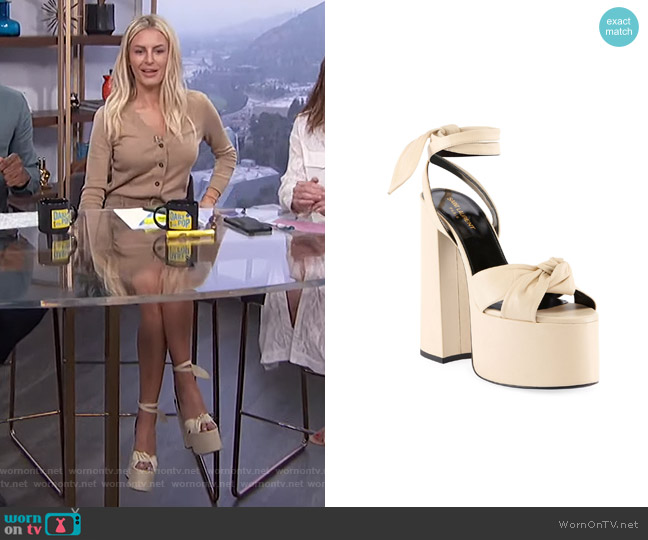 Paige Knotted Platform Sandals by Saint Laurent worn by Morgan Stewart  on E! News