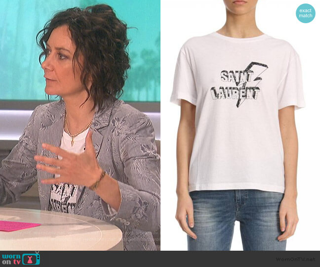 Logo Tee by Saint Laurent worn by Sara Gilbert  on The Talk
