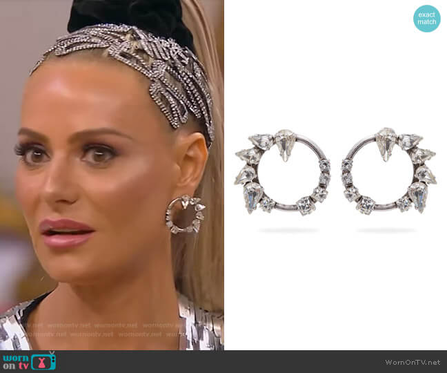 Smoking Creole Strass Silvertone Crystal Hoop Clip-On Earrings by Saint Laurent worn by Dorit Kemsley  on The Real Housewives of Beverly Hills