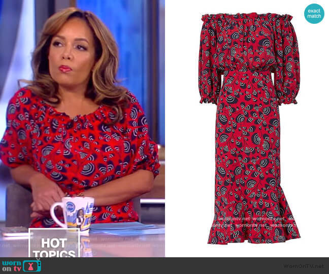 Grace Off-The-Shoulder Dress by Saloni worn by Sunny Hostin  on The View
