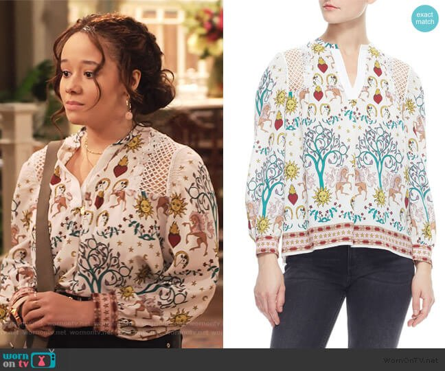 Azucar Print Blouse by Sandro worn by Jade (Talia Jackson) on Family Reunion