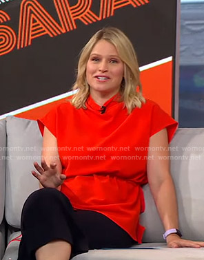 Sara's red tie waist top on GMA Strahan And Sara