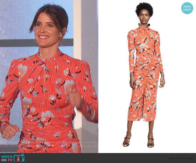 Botanical Printed Crepe Midi Dress by Self Portrait worn by Cobie Smulders on The Talk