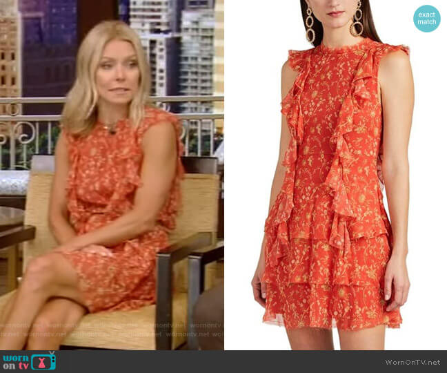 Posey Floral Silk Minidress by Sir The Label worn by Kelly Ripa  on Live with Kelly & Ryan