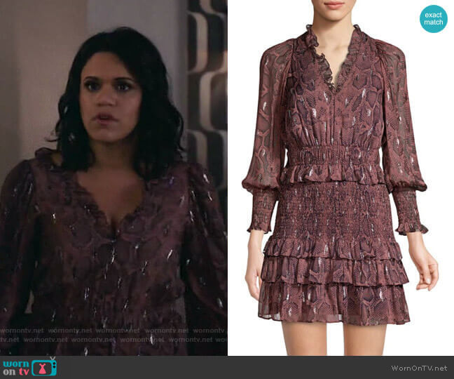 Snake Smock Dress by Rebecca Taylor worn by Yoli (Justina Adorno) on Grand Hotel
