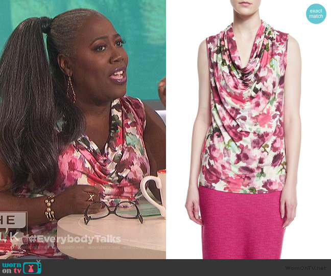 Brigitte Floral-Print Cowl-Neck Shell by St. John Collection worn by Sheryl Underwood  on The Talk