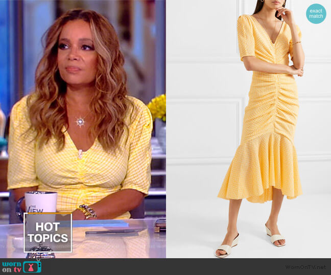 Panier Asymmetric Ruched Gingham Dress by Staud worn by Sunny Hostin  on The View