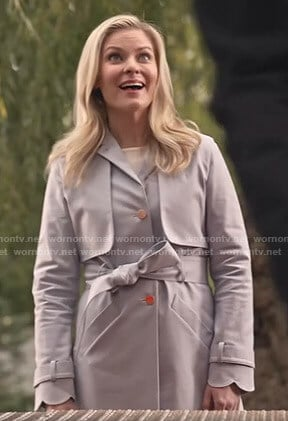 Stephanie's grey scalloped trench coat on Good Witch
