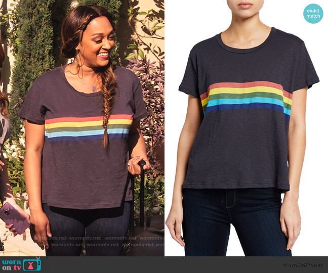Rainbow Vintage Short-Sleeve Cotton Tee by Sundry worn by Cocoa McKellan (Tia Mowry-Hardrict) on Family Reunion