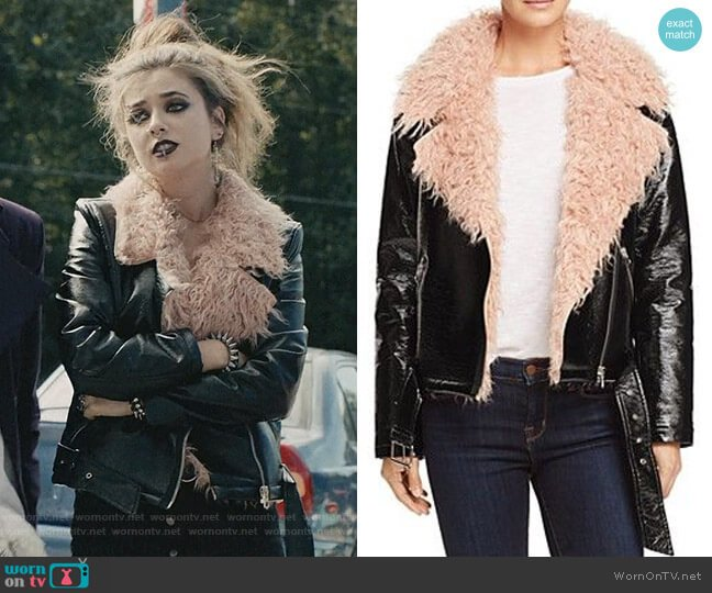 Faux Fur-Collar Moto Jacket by Sunset & Spring worn by Beth (Giorgia Whigham) on Scream
