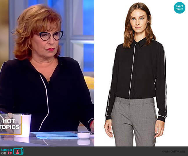 Tyra with Piping Blouse-Black by T Tahari worn by Joy Behar  on The View