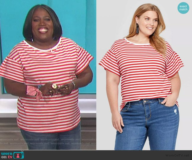 Striped Short Sleeve Crew Neck Relaxed T-Shirt by Ava and Viv worn by Sheryl Underwood  on The Talk