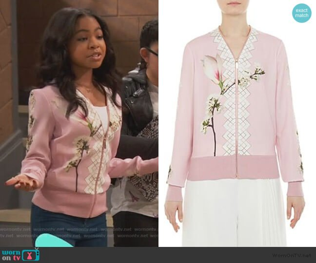 Emylou Harmony Print Zip Cardigan by Ted Baker worn by Nia Baxter (Navia Robinson) on Ravens Home
