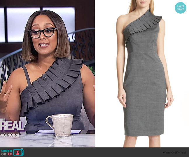 One-Shoulder Sheath Dress by Ted Baker worn by Tamera Mowry  on The Real