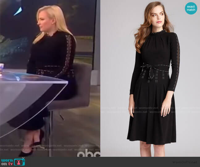Illusion Inset Dress with Studs by Teri Jon by Reckie Freeman worn by Meghan McCain  on The View