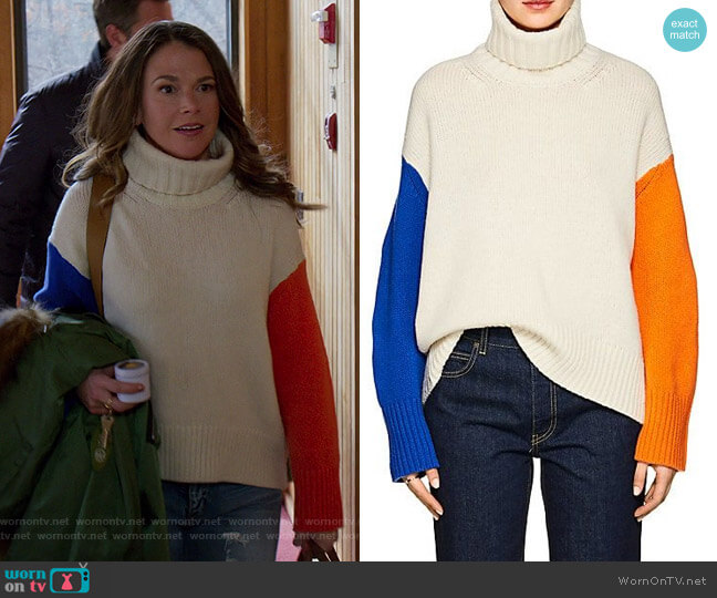 Colorblocked Wool Turtleneck Sweater by Tomorrowland worn by Liza Miller (Sutton Foster) on Younger