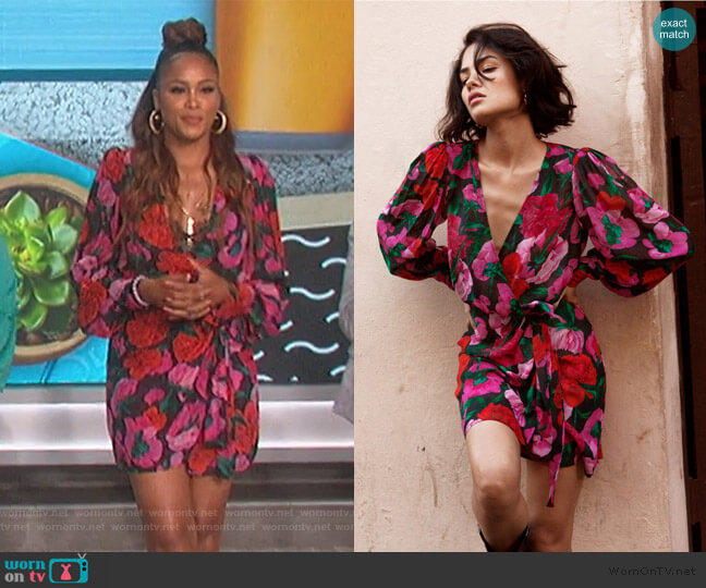 Black Silk Wrap Dress with Floral Motif by The Kooples worn by Eve  on The Talk