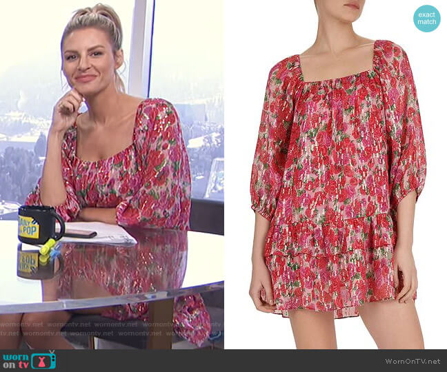 Cherry Blossom Square-Neck Mini Dress by The Kooples worn by Morgan Stewart  on E! News