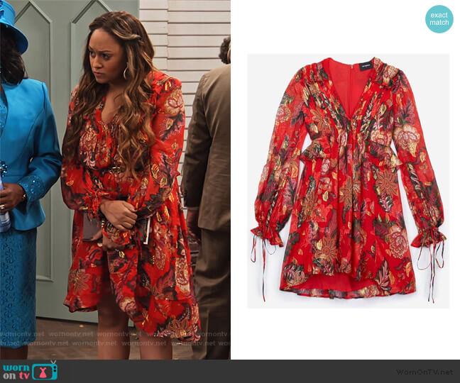 Red Silk Dress with Bollywood Print by The Kooples worn by Cocoa McKellan (Tia Mowry-Hardrict) on Family Reunion