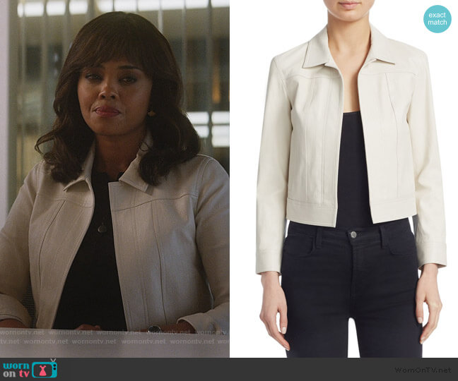 Theory Shrunken Leather Jacket by Theory worn by Jasmine Gooden (Sharon Leal) on Instinct
