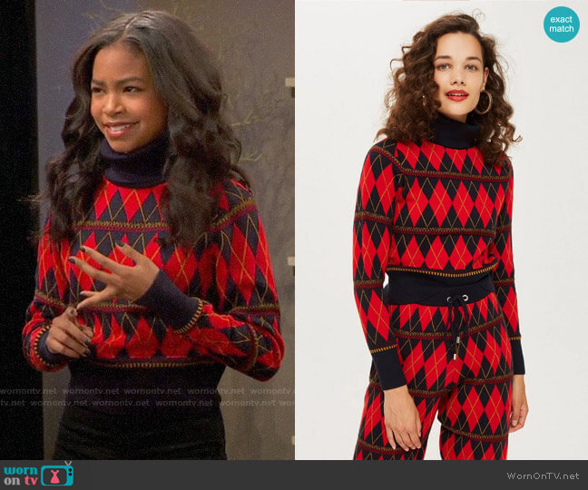 Topshop Argyle Roll Neck Top worn by Nia Baxter (Navia Robinson) on Ravens Home