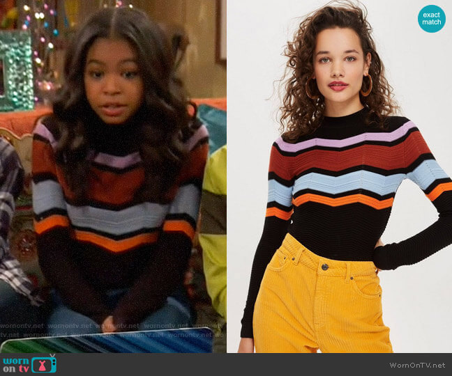 Topshop Chevron Insert Jumper worn by Nia Baxter (Navia Robinson) on Ravens Home