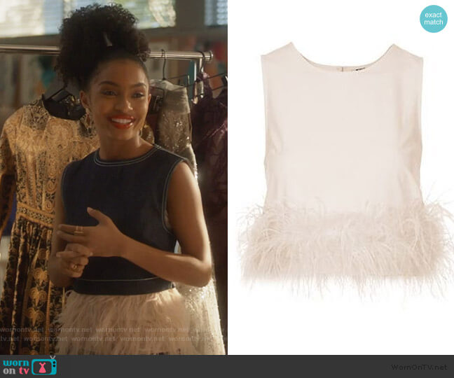 Feather Hem Shell by Topshop worn by Zoey Johnson (Yara Shahidi) on Grown-ish