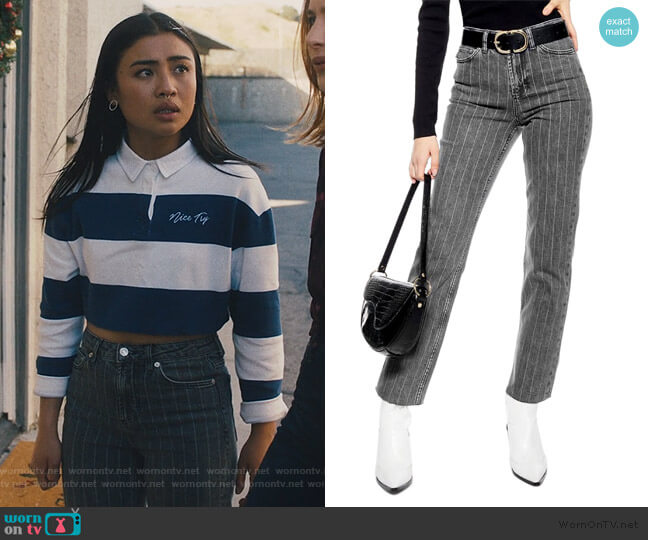 High Waist Pinstripe Jeans by Topshop worn by Alex Portnoy (Brianne Tju) on Light as a Feather