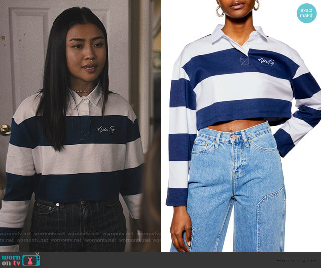 Nice Try Rugby Polo Crop Top by Topshop worn by Alex Portnoy (Brianne Tju) on Light as a Feather