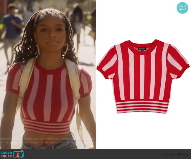 Stripe Crop Top by Topshop worn by Skylar Forster (Halle Bailey) on Grown-ish