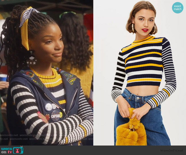 Stripe Cropped Jumper by Topshop worn by Skylar Forster (Halle Bailey) on Grown-ish