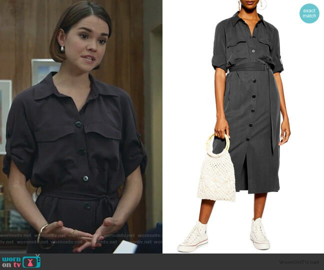 Utility Midi Shirtdress by Topshop worn by Callie Foster (Maia Mitchell) on Good Trouble