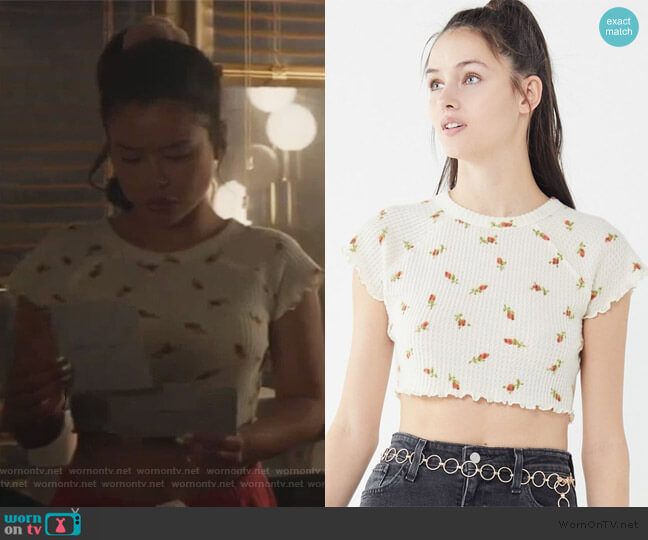 Out From Under Luna Lettuce-Edge Cropped Top by Urban Outfitters worn by Mariana Foster (Cierra Ramirez) on Good Trouble