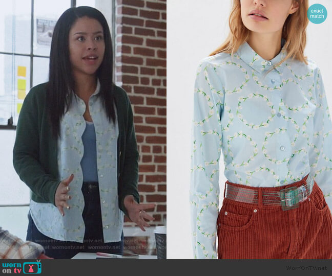 Floral Scalloped Button-Down Shirt by Urban Outfitters worn by Mariana Foster (Cierra Ramirez) on Good Trouble