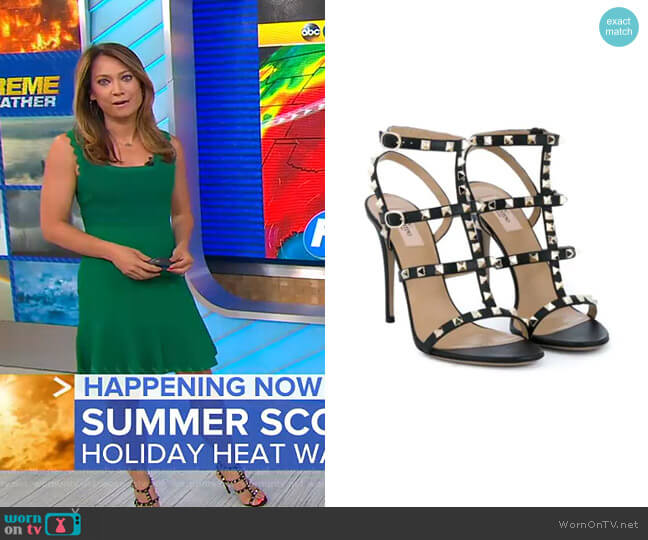 Garavani Rockstud Sandals by Valentino worn by Ginger Zee  on Good Morning America