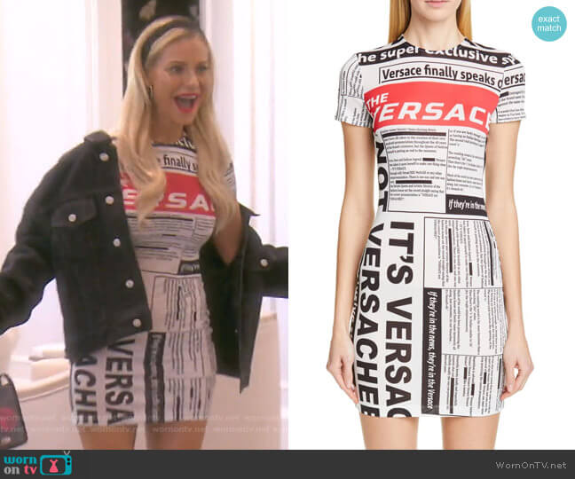 Versace News Print Dress by Versace worn by Dorit Kemsley  on The Real Housewives of Beverly Hills